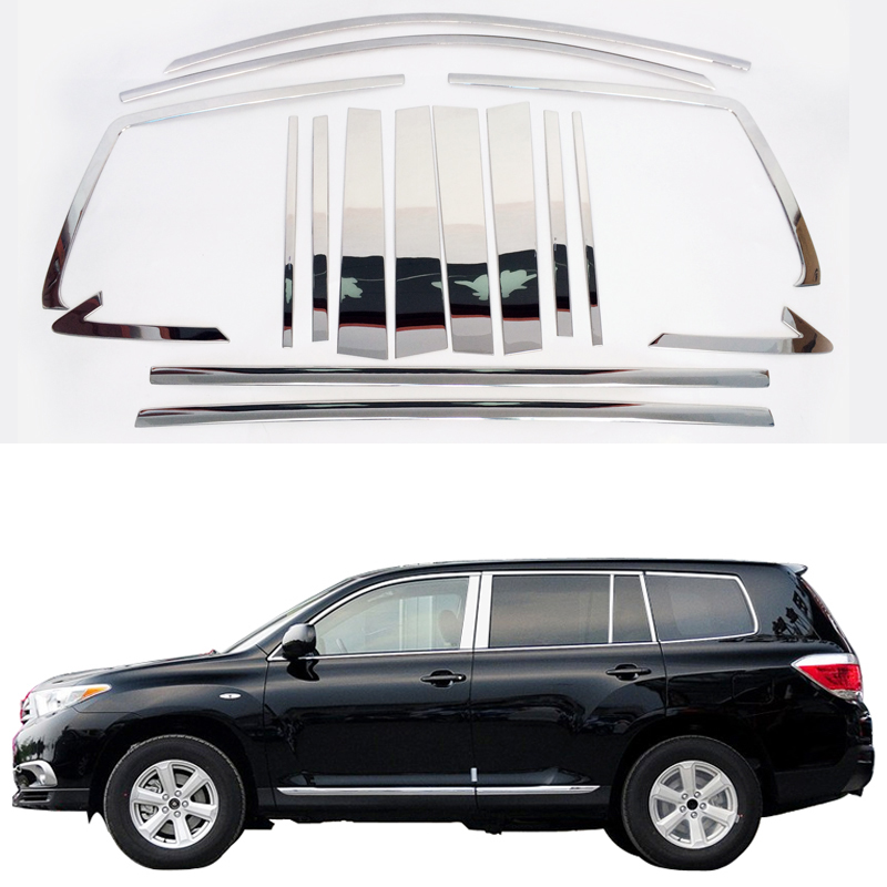 Stainless Steel Strips For Toyota Highlander 2011 2012 2013 Car Styling Full Window Trim Decoration OEM-16-8 full window trim decoration strips stainless steel styling for ford focus 3 sedan 2013 2014 car accessories oem 12