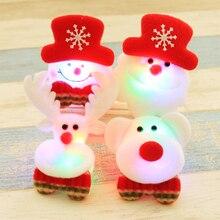1 Pc Christmas Gift LED Glowing Santa Snowman Deer Bear Glow Flashing Cartoon Brooch Badge Toy Christmas Luminous Decoration