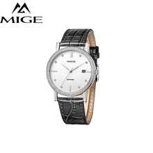 2018 Top Brand Mige Business Couples Watches Steel Case White Face Japan Movemen