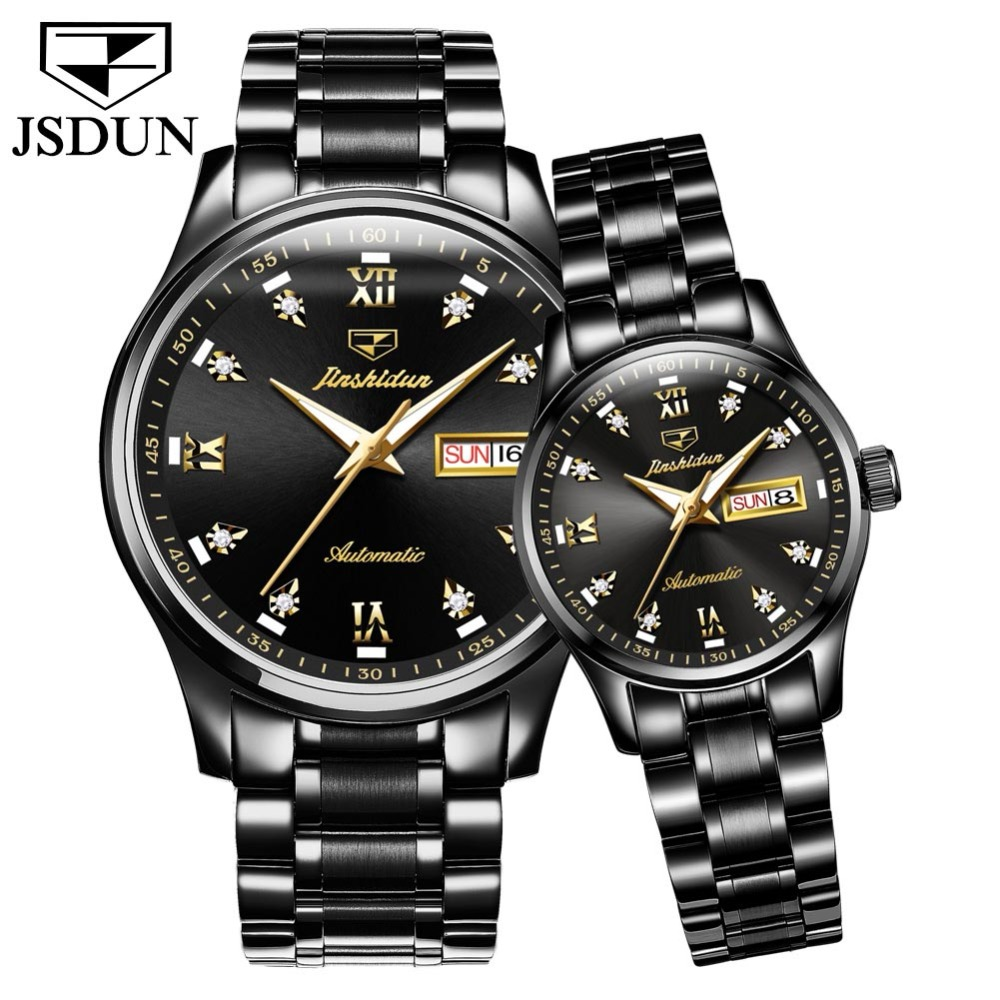JSDUN 2019 New Luxury Fashion Couple Watch Top Brand Automatic Watch Lovers Wristwatches Calendar Week Sapphire Waterproof Watch