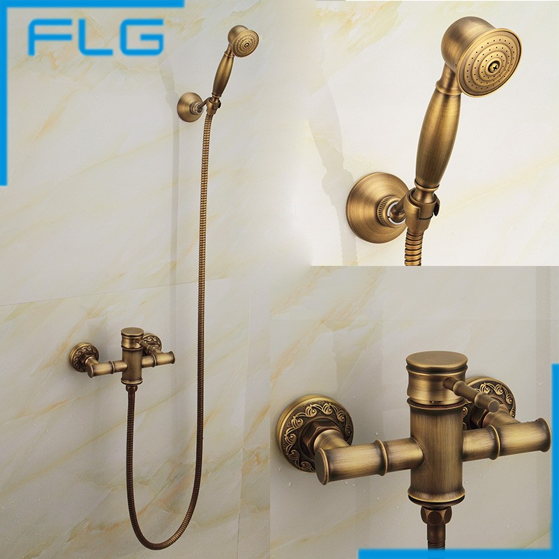 Free Shipping Wall Mounted Bath Shower Faucet Bath Tub Taps Bronze Antique Bath Mixer FLG40008A flg free shipping bamboo antique brass rainfall bamboo shower faucet set bath tub mixer tap single handle shower wall mounted