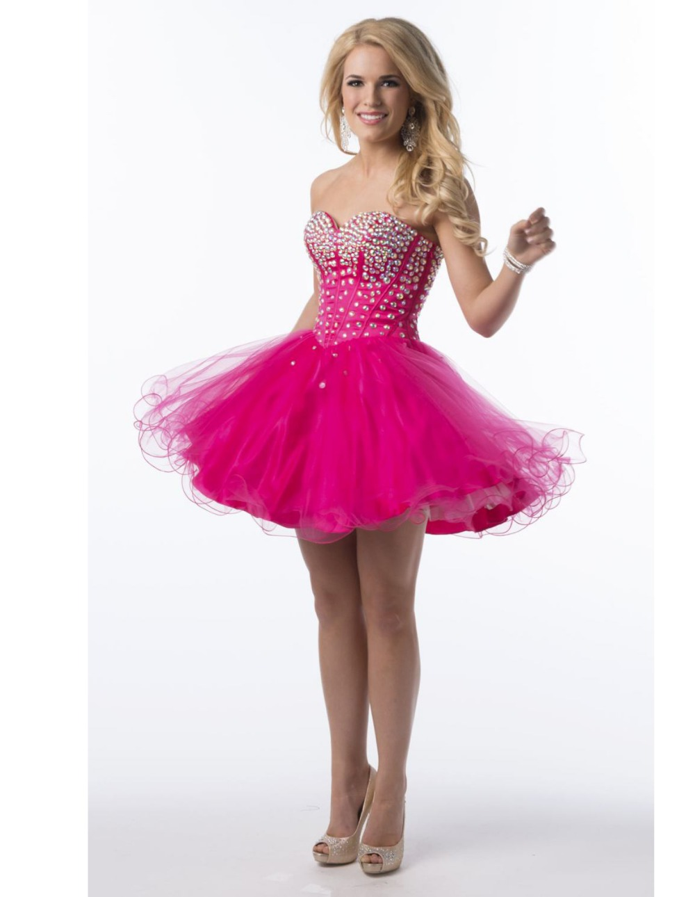 Corto rose red crystal sweetheart corset prom vestidos sexy mini ...