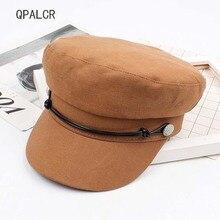 QPALCR militar tapas de los hombres las mujeres boina sombreros de marinero  gorras hueso gorra Militairey sombrero de capitán de. e0bb3bc9a7e