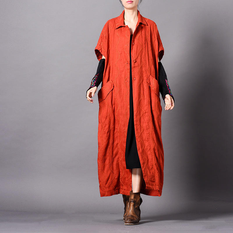 trench   coat for women embroidery long loose plus size cotton and linen overcoat casual with big pocket short sleeves solid color