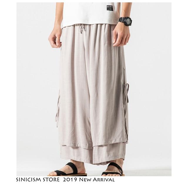 Sinicism Store 2020 Men Wide Leg Pants Summer Streewear Cotton Linen Loose Male Hanfu Chinese Style Mens Full Length Pants 3XL 34