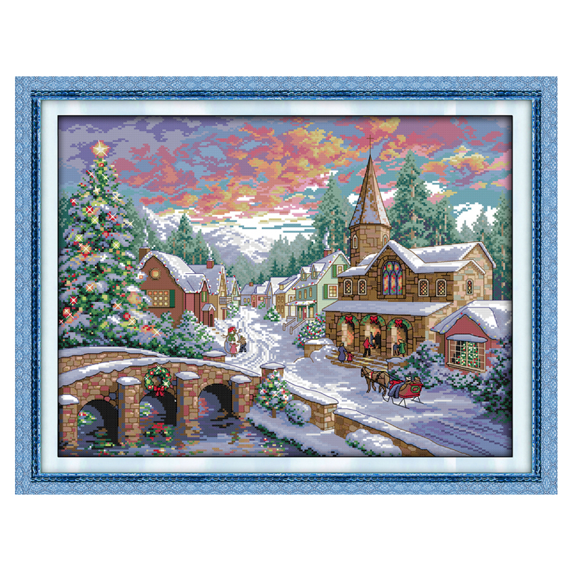 Snowscape Patterns Counted Cross Stitch 11CT 14CT Cross Stitch Sett Grossist Landskap Kors Stitch Kit Broderi Needlework