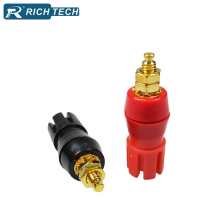 Gold Plated Binding Post Connector 4PCS Large Current Amplifier Audio Terminal 4mm Banana Socket Brass Binding Post Connector