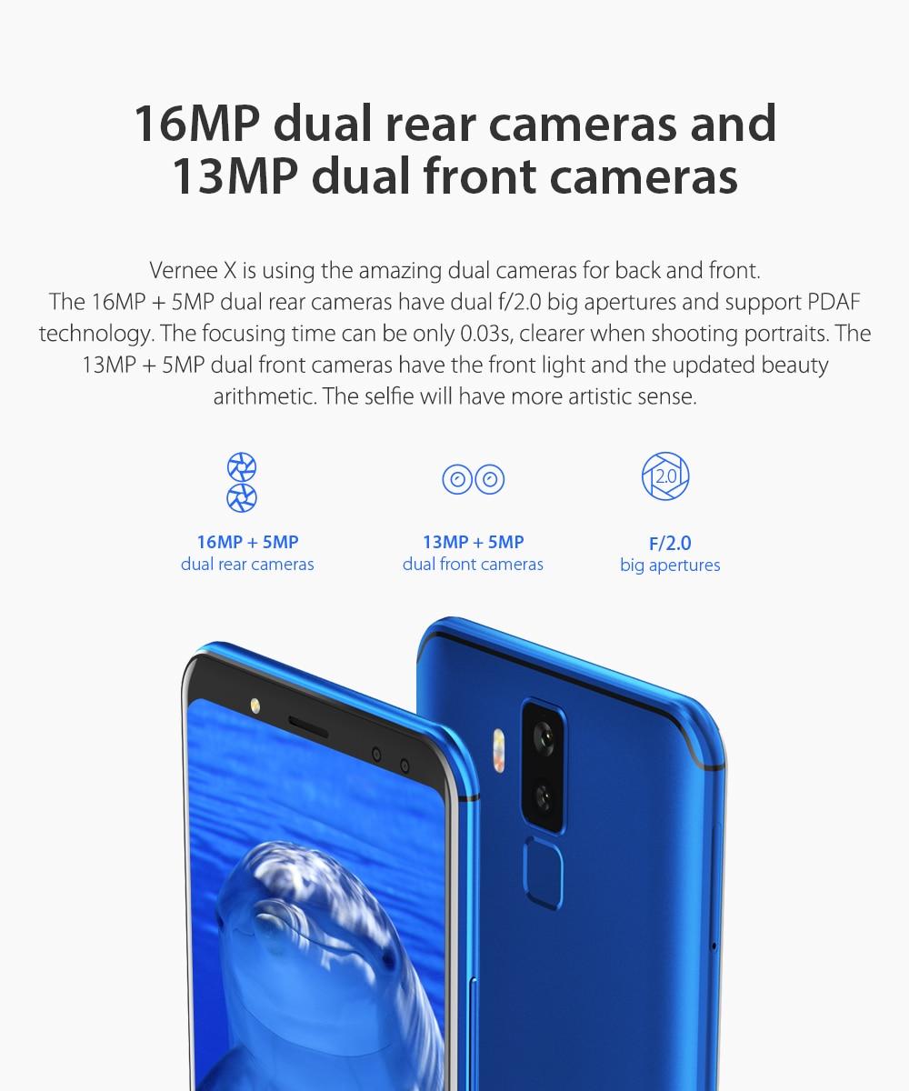 मूल Vernee X 4GB 64GB रैम रॉम 6200mAh 6.0 इंच स्क्रीन सेलफोन टेलीफोन 9 V/2A जल्दी चार्ज प्रकार-सी अंकित आईडी मोबाइल फोन
