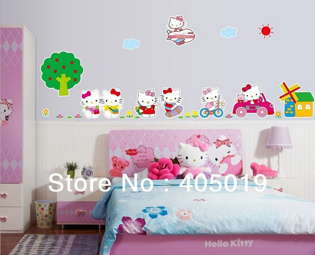 "Giant 200x65cm (79""x26"") AY9091 Cartoon Peel Scroll Sticker 1set=7pcs Kitty Mural Wall Stickers for Kids Rooms Decals Mixable"