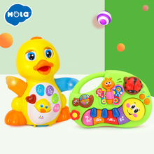 Купить с кэшбэком HUILE TOYS Dancing Duck Toy Figure Action Toy with Flashing Lights & Electric Piano Baby Toys 927& 808