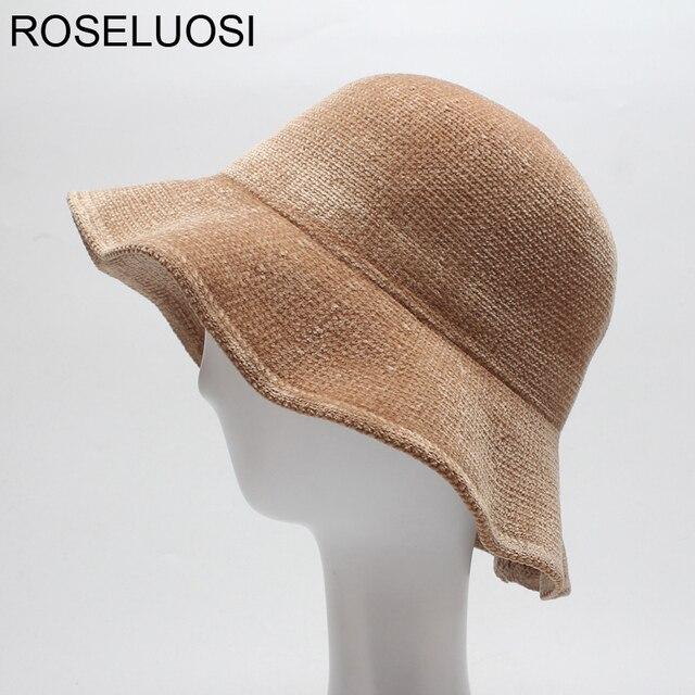 b67c613fd ROSELUOSI Women Velvet Hat Autumn Winter Large Brim Bucket Cap Ladies  Casual Solid Color Panama Hats Female Fishermen Cap -in Bucket Hats from  Women's ...