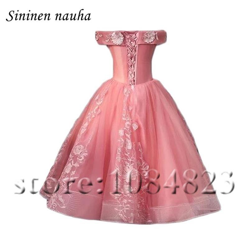 Robe De bal courte rose robes De soirée pour les femmes Juniors 2019 hors De l'épaule une ligne Appliques grande taille Vestidos De Festa 283 - 2
