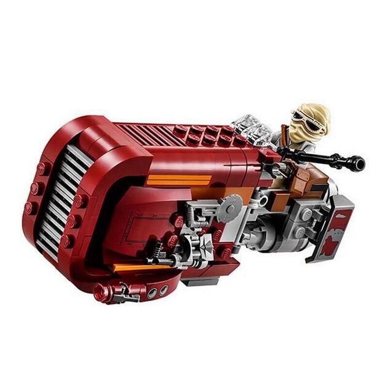 05001 LEPIN Star Wars The Force Awakens Rey's Chariot Speeder modelo bloques de construcción iluminan juguetes para niños Compatible Legoe
