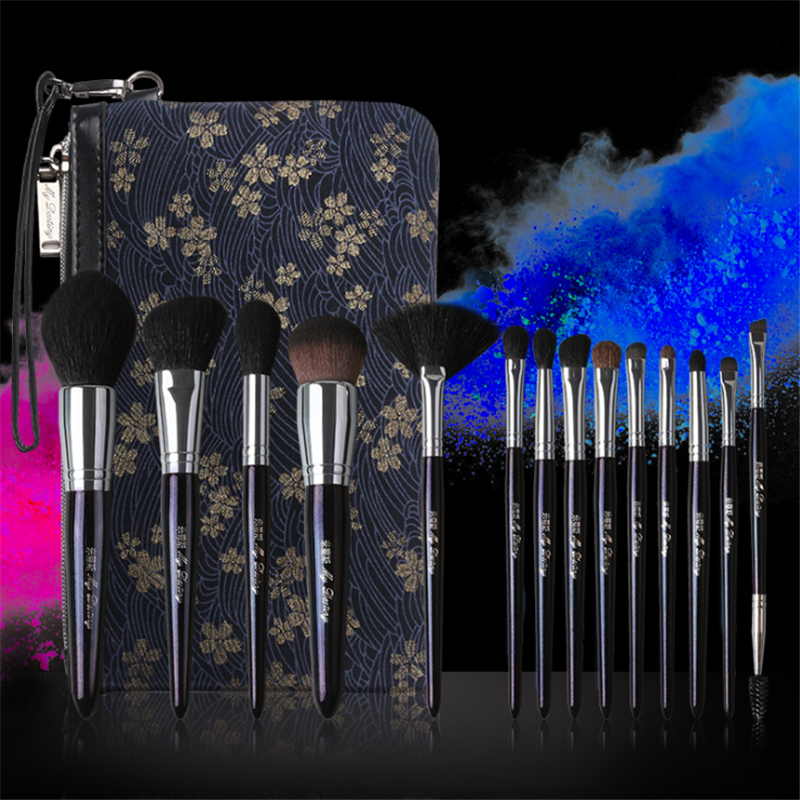 High Quality Galaxy 14pcs Natural Goat Hair Makeup Brushes Set with Case Professional Makeup Tools Eye Make up Brand 4pcs set makeup brushes set professional foundation powder eye make up brushes goat hair with pu leather case for beauty tools