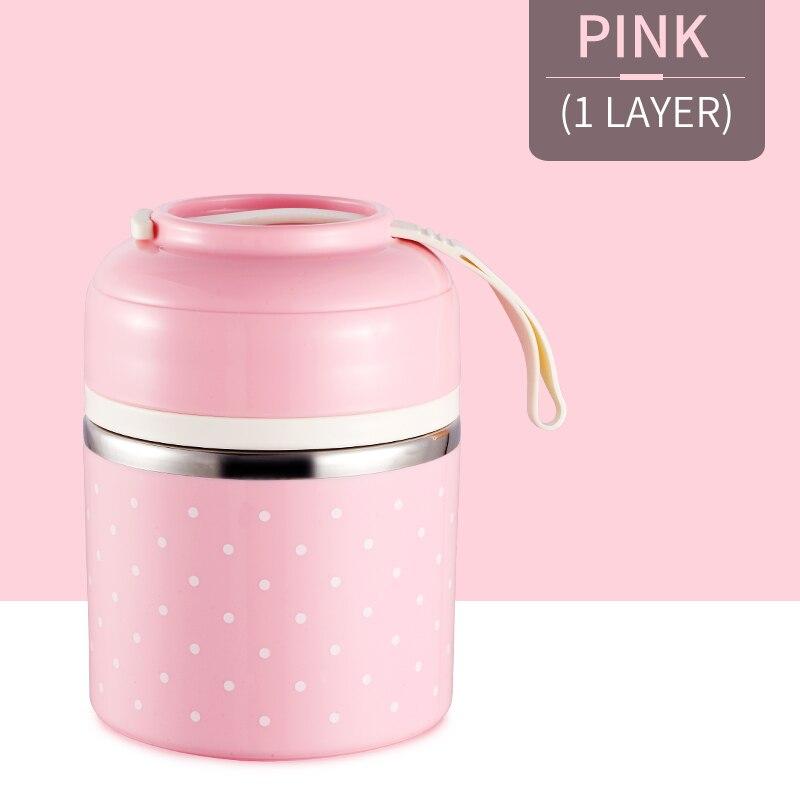 Милые детские Термальность Коробки для обедов герметичность Нержавеющая сталь Bento box для детей Портативный Пикник школа Еда контейнер Box - Цвет: Pink 1 Layer