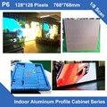 Цена завода крытый P6 полноцветный видео светодиодный дисплей алюминиевый профиль шкафа 768 мм * 768 мм фиксированной арендной платы 1/8 сканирование панели светодиодный экран