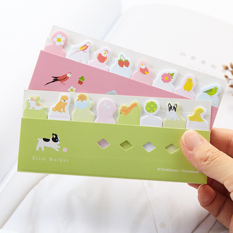 48 pcs/Lot Cartoon Animal in row sticky notes and memo pads Post it bookmark cute cat panda stickers Office School supplies 7141