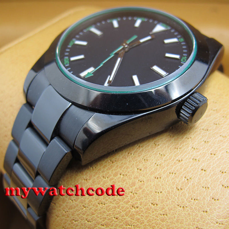 Parnis black dial PVD luminous automatic movement sapphire glass Mens Watch P336 цена