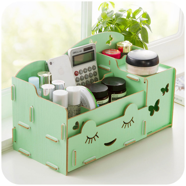 Buy retail 1 pcs diy wood desk pencil - Makeup organizer desk ...