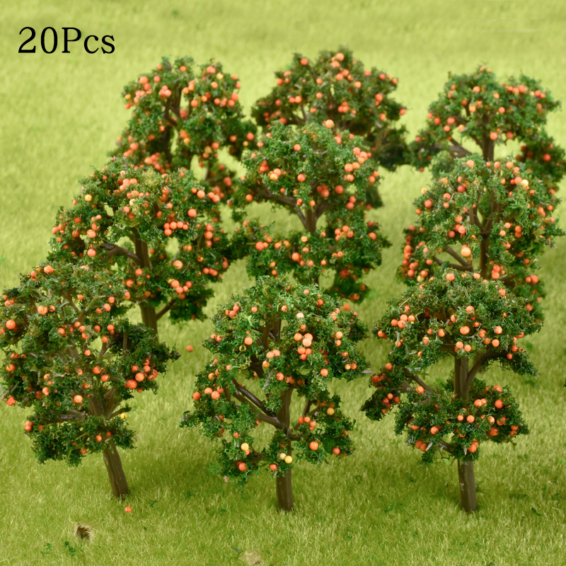 10Pcs/Lot Model Fruit Trees Plastic Model Landscape Architectural Train Layout Garden Scenery Miniature Toy