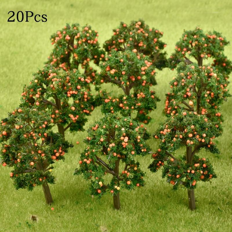 10Pcs/Lot Model Fruit Trees Plastic Model Landscape Architectural Train Layout Garden Scenery Miniature Toy