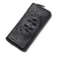 Real Alligator Hide Men Long Zipper Wallets A Crocodile's Head and Back and Tail Material Design Shape Luxury Fashion Male Purse