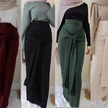 Skirt Abaya Long-Jumpsuit Muslim Bottoms Islamic Fashion Belt Bandage Jilbab Lace-Up