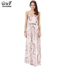 Dotfashion Boho Dress 2016 Summer Fashion Women Dresses Sexy Elegant Party Spaghetti Strap Backless Floral Print Maxi Dress