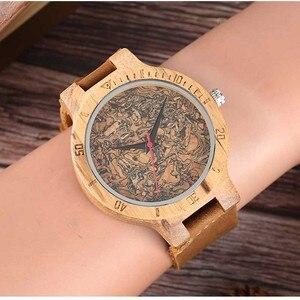 Image 5 - עץ שעון גברים של ייחודי פקק סיגים/שבור עלים פנים חיוג שעון עץ קוורץ שעון זכר נשים אמיתי עור להקת שעוני יד