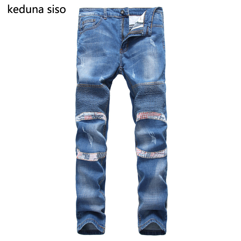 ФОТО 3 color Hip Hop biker jeans men Blue denim Distressed Masculina Fold straight Ripped Jeans For Men Motorcycle pants Wholesale