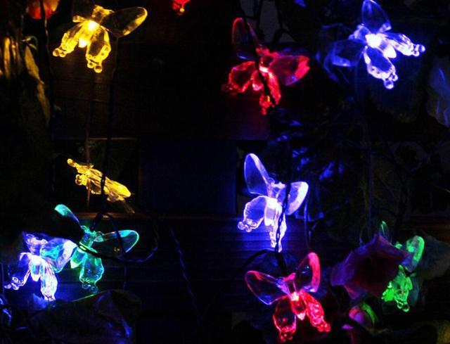 White multicolor Outdoor Yellow Solar LED Light String Fairy Christmas Party Solar Garden Lamps