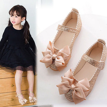 New Girls Shoes Kids Shiny bow Princess Shoes Girls chaussure fille Childrens shoes For Party and wedding 1 2 3 4 5 6 7 8 9-14 все цены