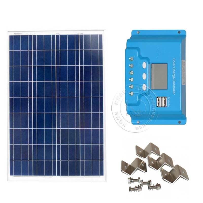 100w 12v Pv Solar Panel Kit 12v Lcd Display Solar Charge