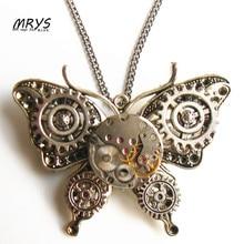steampunk punk butterfly watch movements gears brooch pins pendant chain women girls vintage jewelry christmas gift 2017 diy new