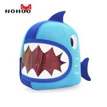 Nohoo bolsos de escuela impermeable azul 3d shark kids bolsas de bebé animal de la historieta niños de escuela para niñas niños