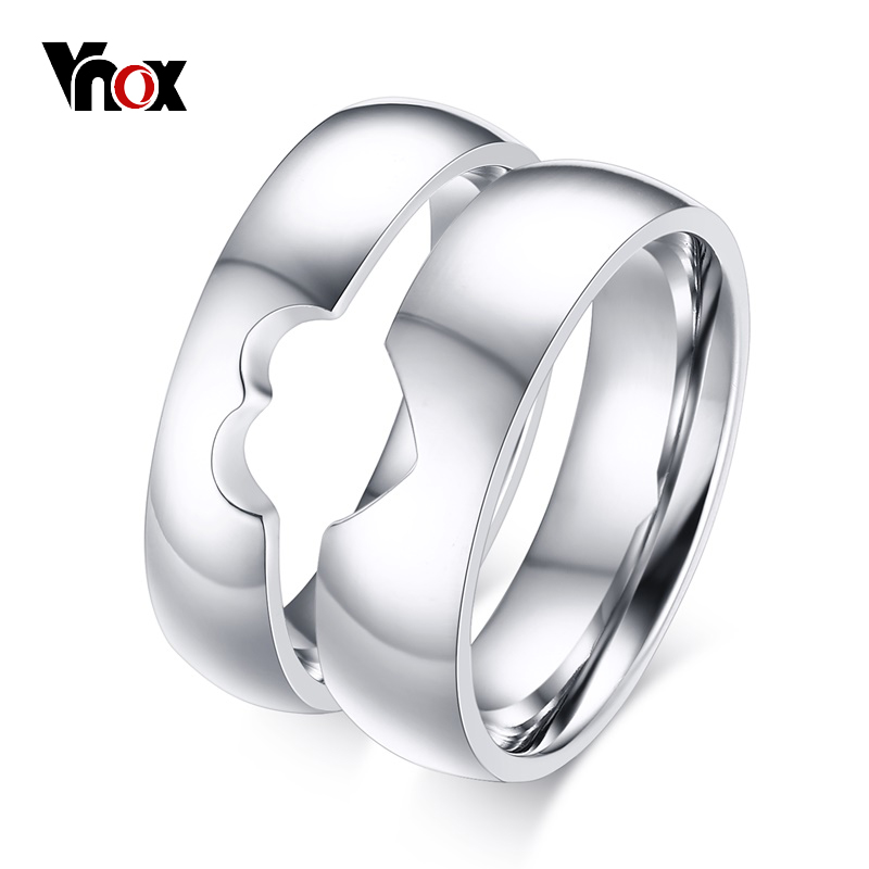 Vnox half heart wedding rings for women men alliance simple vnox half heart wedding rings for women men alliance simple anniversary band ring bijoux engagement jewelry gift in rings from jewelry accessories on junglespirit Choice Image