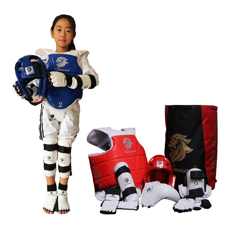 Personalizado conjunto Protetor Karate Taekwondo Tkd 8 capacete pedaço Peito tae kwon do e Tornozelo Sanda Boxe Jogo Faixa Preta crianças