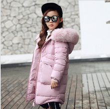 New 2018 Fashion Children Winter Jacket Girl Winter Coat Kids Warm Thick Fur Collar Hooded long down Coats For Teenage 4Y-14Y(China)