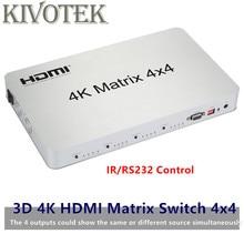 Commutateur de commutateur matriciel 4K * 2K 3D HDMI 4X4 IR/RS232 connecteur mâle de contrôle DTS/AC3/DSD alimentation pour affichage HDTV livraison gratuite