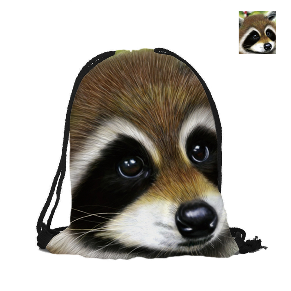 Cute Raccoons Pattern Printing Drawstring Bags Backpack Printed With Double Sides For Woman Girl Man School Travel Used