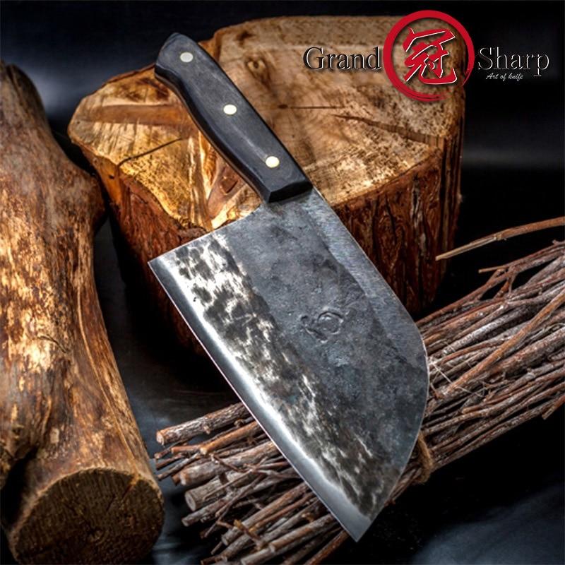 7 ''ручной работы кованый нож шеф-повара одетый стальной кованый китайский нож для резки мяса