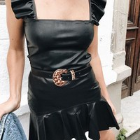 2018 Summer Cropped Backless Crop Top Feminino Slim Bustier Tank Tops Sexy Black PU Leather Women