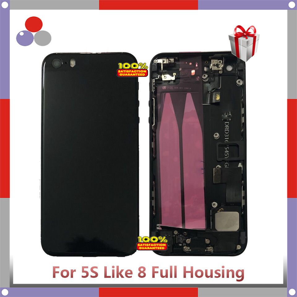 High Quality For Iphone 5G Or 5S Back Middle Frame Chassis Full Housing Assembly Battery Cover Door Rear With Flex Cable