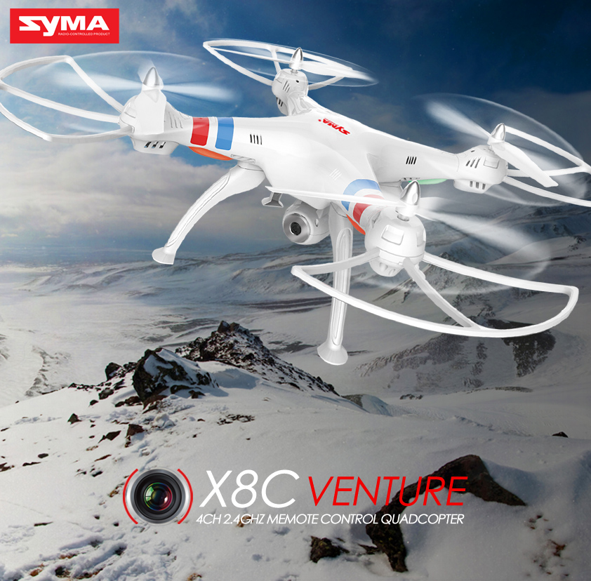SYMA Drone X8C Quadcopter 2.4G 4CH RC Helicopter Dron Remote Control Drones Aircraft With HD Camera Headless Black White Color wltoys q222 quadrocopter 2 4g 4ch 6 axis 3d headless mode aircraft drone radio control helicopter rc dron vs x5sw