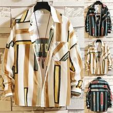 2019  Men Shirts Casual Multicolor Striped Lapel Short-Sleeve Top Male Shirt autumn Printing Pokect M-5XL L0715