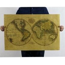 Mapa del mundo Vintage adornos de pared de papel pegatinas de pared estilo Retro para el estudio Roma decoración para el hogar arte 47x72cm CP0622