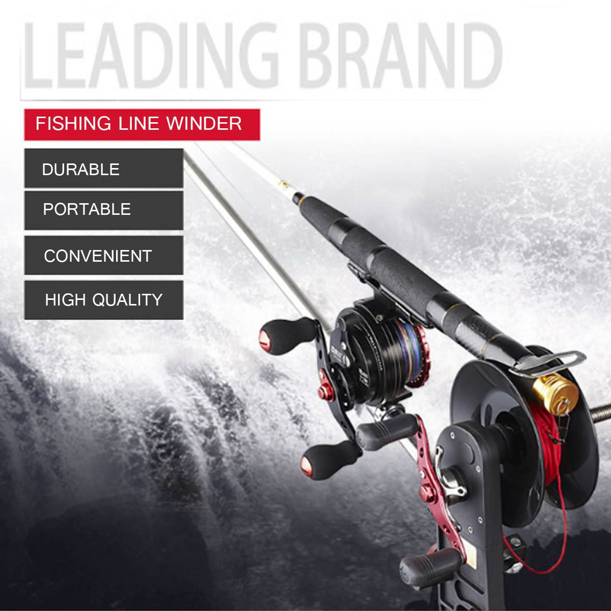 Fishing Line Winder Spooler System Machine Baitcasting Reel Spooler Portable Aluminum Fishing Line Winder Reel Spool Station
