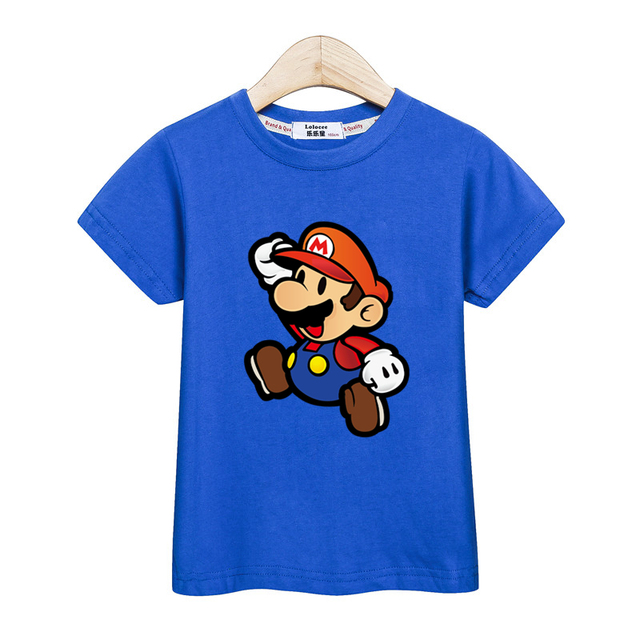 Niños de manga corta de dibujos animados camiseta chica dibujos animados 3D Mario Camisetas Bebé niño nuevas camisetas niño 100% ropa Casual de algodón tops de verano