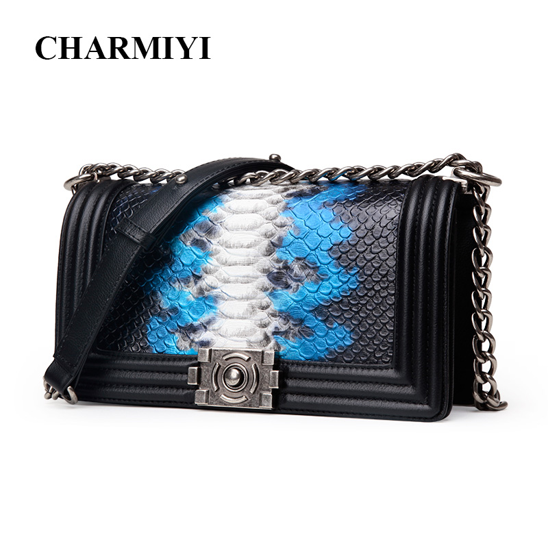 CHARMIYI Famous Brand Serpentine Ladies Messenger Bags High Quality Leather Fashion Silver Chain Women Shoulder Crossbody Bag famous brand designer 2018 ladies small messenger bags women serpentine leather shoulder bag high quality chains crossbody bags