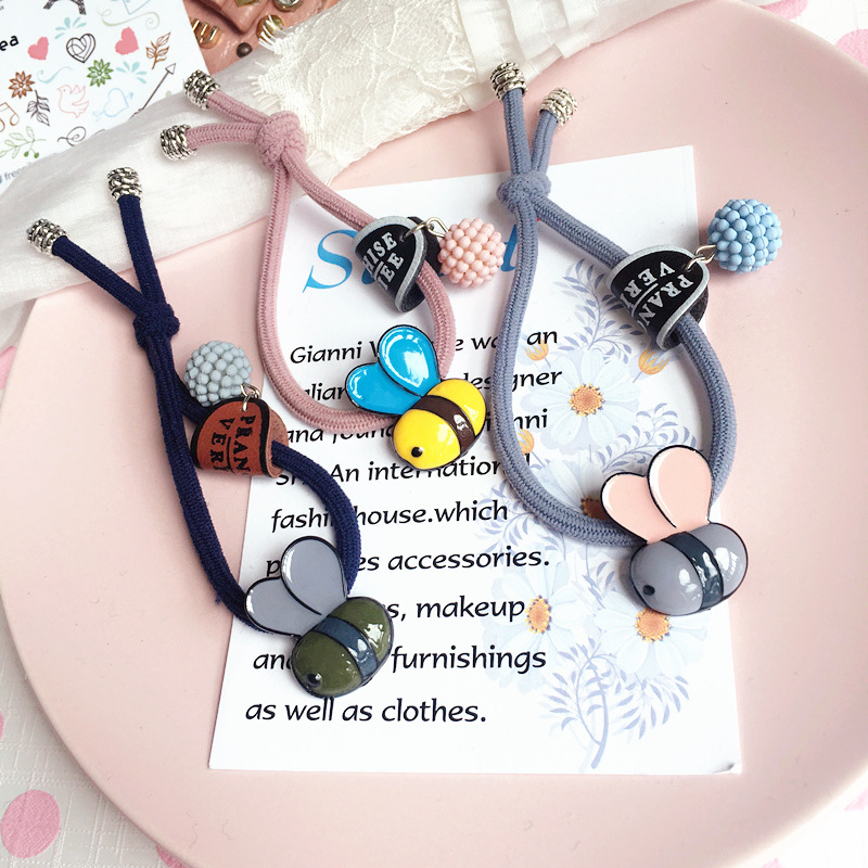2pcs Korea Hair Accessories Alloy Bee Colorful Butterfly Hair Ties Gum for Hair Bows Scrunchy Fascinator -33